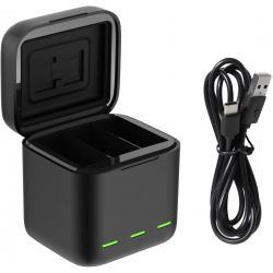 Action kameru aksesuāri - Telesin 3-slot charger box for GoPro Hero 10 + 2 batteries (GP-BNC-901) hero9 HERO10 - perc šodien veikalā un ar piegādi