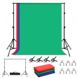 Puluz Photo studio background support 2x2m + Backdrops 3 pcs PKT5204