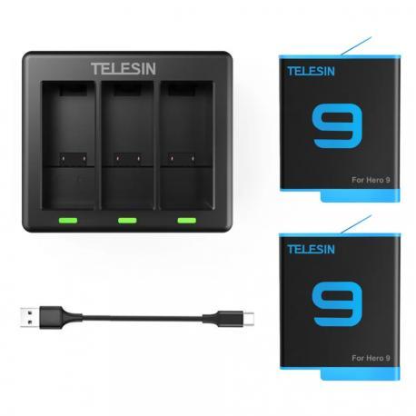Telesin 3-SLOT Charger and 2pcs battery kit set fo