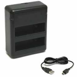 GoPro Aksesuāri - Dubultais Gopro hero 4 baterijas lādētājs OEM - perc veikalā un ar piegādi
