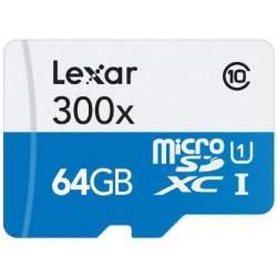 Atmiņas kartes - LEXAR 64GB MicroSD 300X SDMHC With Adapter Class 10 - perc veikalā un ar piegādi