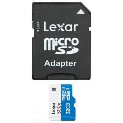 Atmiņas kartes - LEXAR 32GB atmiņas karte MicroSD 300X SDMHC ar adapteri Class 10 - perc veikalā un ar piegādi