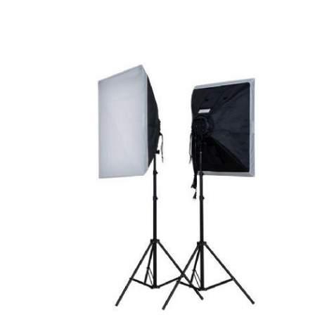 Fluorescējošās - Falcon Eyes LH-ESB5050K2 2x40W 2x 50x50cm dienas gaismu komplekts - perc šodien veikalā un ar piegādi