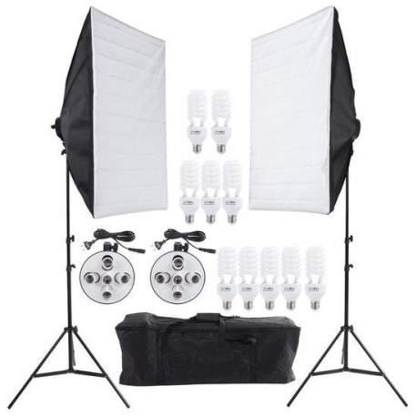 Флуоресцентное освещение - Bresser BR-2246B 10x45W w 2x 60x90 softbox 1600W daylight set - купить сегодня в магазине и с доставкой