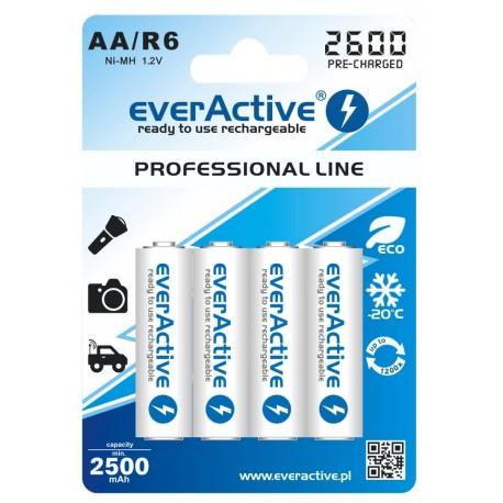 Pirkstiņu baterijas zibspuldzēm - EverActive AA R6 2600 mAh lādējamās baterijas ready to use 4BL - perc šodien veikalā un ar piegādi