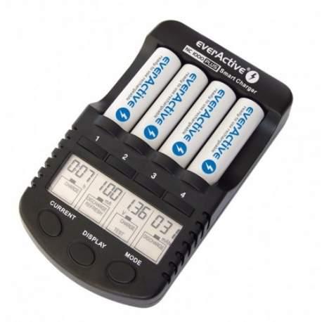 Pirkstiņu baterijas zibspuldzēm - EverActive NC1000 4 režimi AA un AAA 4 gab. lādētājs ar 12v auto štekeri - ātri pasūtīt no ražotāja