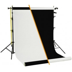 Backgrounds and supports - Black/White vinyl background roll with tripod set rent