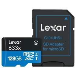 Atmiņas kartes - LEXAR 633X MICROSDHC/SDXC W/ADAP (V30) R95/W45 128GB - perc šodien veikalā un ar piegādi