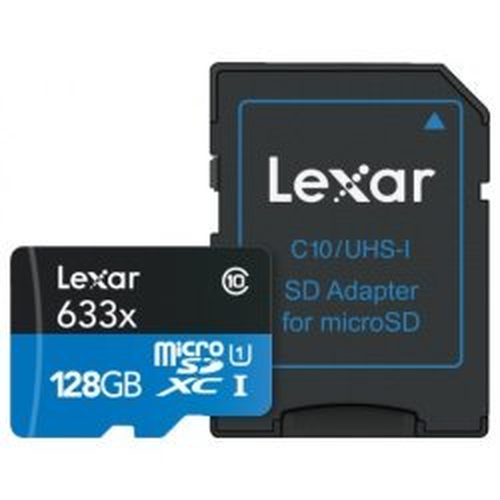 Atmiņas kartes - LEXAR 128GB 633X MICROSDXC UHS-I HS WITH ADAPTER - perc šodien veikalā un ar piegādi