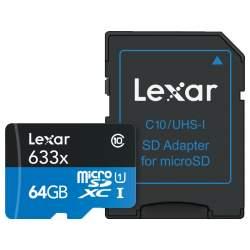 Atmiņas kartes - LEXAR 633X MICROSDHC/SDXC W/ADAP (V30) R95/W45 64GB - perc šodien veikalā un ar piegādi
