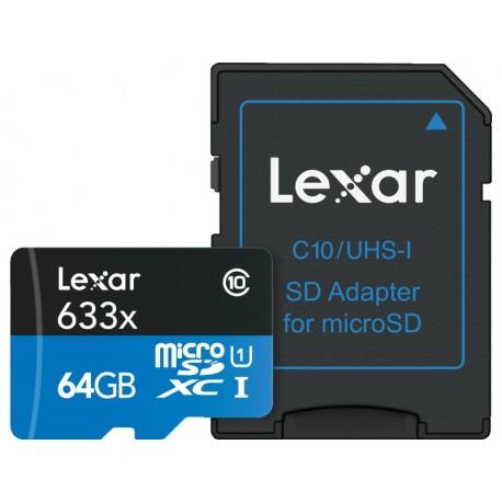 Atmiņas kartes - LEXAR 64GB 633X MICROSDXC UHS-I HS WITH ADAPTER - perc šodien veikalā un ar piegādi