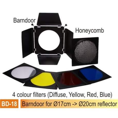 Reflektori - Falcon Eyes Honeycomb Grid + 4 Color Filters SSA-HC for SS Series - ātri pasūtīt no ražotāja