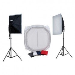 Предметные столики - Falcon Eyes Product Photo- Set with 75x75x75 Photo Tent with Lighting 1600W - быстрый заказ от производителя