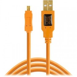Kabeļi - Tether Tools TetherPro USB 2.0 A Male to Mini-B 8 pin 4.6 m Orange - perc šodien veikalā un ar piegādi